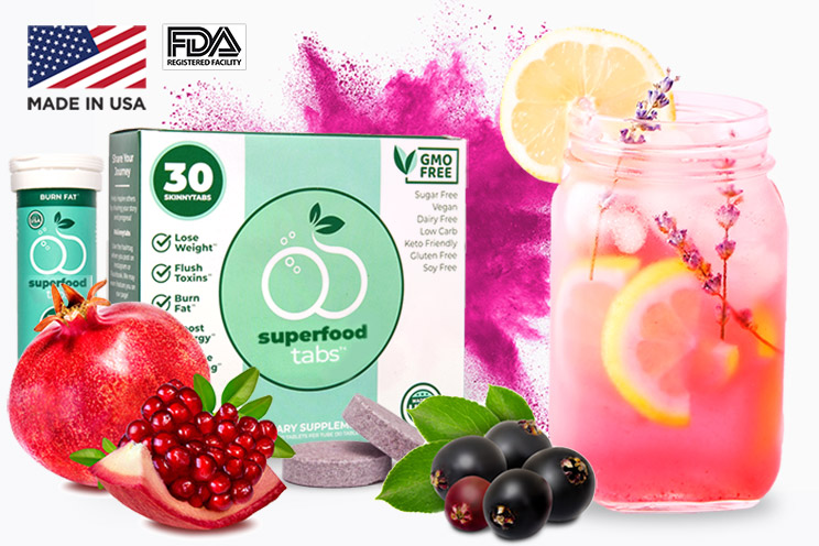 Skinnytabs Superfood Tabs are made in the USA at a FDA registered facility